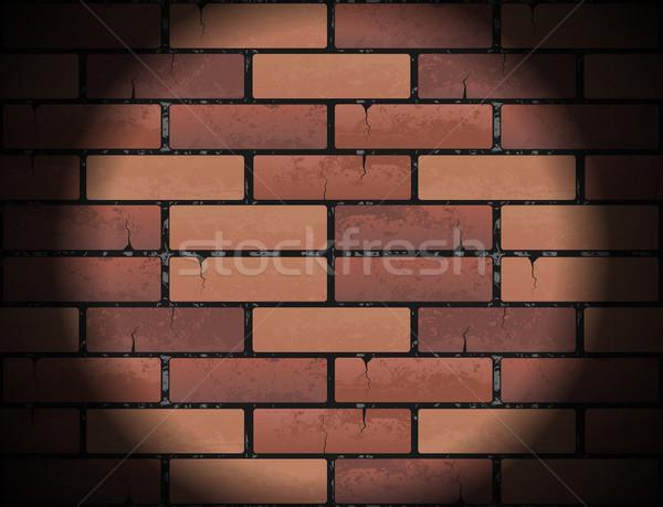 Kırmızı tuğla duvar doku ışık projektör Stok fotoğraf © Iaroslava