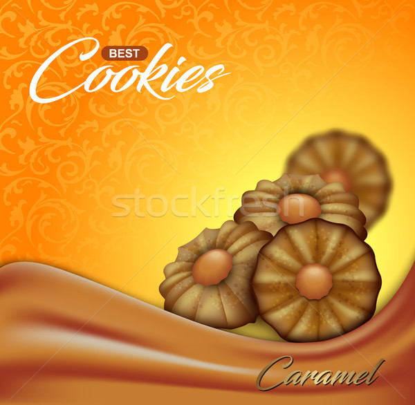 Buttery cookies with caramel on floral pattern backdrop. Label, packaging or advertising poster Stock photo © Iaroslava