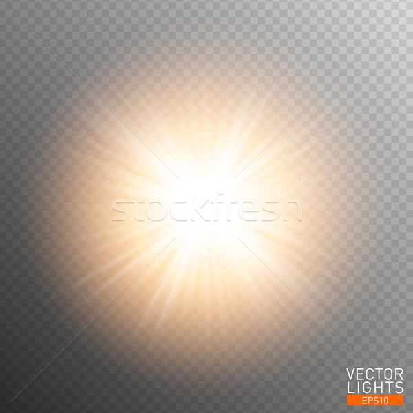 White glowing light burst explosion on transparent background. Vector illustration light effect Stock photo © Iaroslava