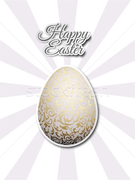 White egg with golden metallic floral pattern. Flat sticker on gray sun beams background Stock photo © Iaroslava