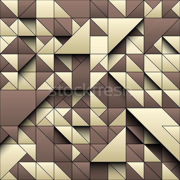 Vanília szín háromszög mértani végtelen minta 3D Stock fotó © Iaroslava