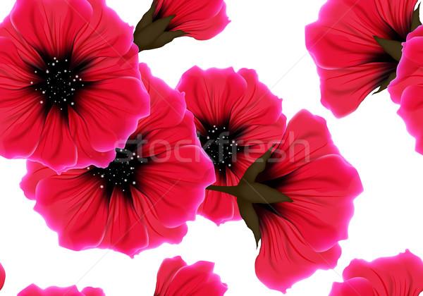 Virágmintás végtelen minta piros virág rózsaszín szirom Stock fotó © Iaroslava