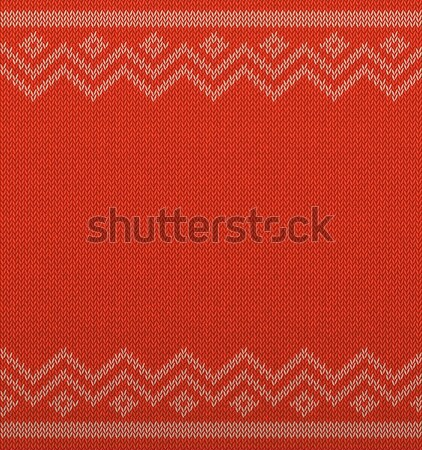 Knit christmas geometric background with empty space for text. Realistic xmas vector pattern Stock photo © Iaroslava