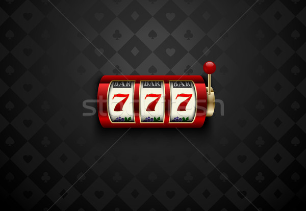 Vector red casino slot machine with lucky seven . Dark silk geometric card suits background Stock photo © Iaroslava