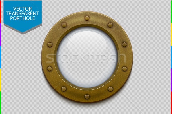 Stock photo: Bronze or brass ship porthole with glass