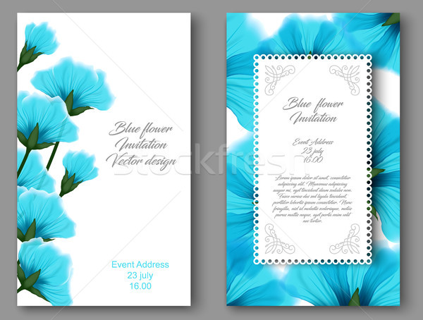 Vector botanical vertical banners with blue flower. Design for natural cosmetics, health care Stock photo © Iaroslava