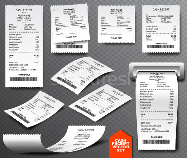 Cash register sale receipt printed on thermal rolled paper. Realistic image collection isolated Stock photo © Iaroslava