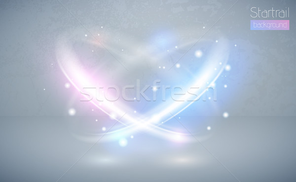 Stock photo: Circular lens flare blue and pink light effect with sparks. Abstract cross ellipse. Rotational glow