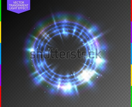 Abstract semitransparent blue light neon line glowing ring with colorful spotlight and spark Stock photo © Iaroslava