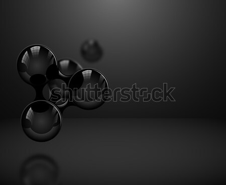Abstract glossy black molecules or atoms on dark background. Vector illustration for modern science  Stock photo © Iaroslava