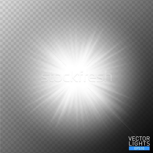 White glowing light burst explosion on transparent background. Vector illustration light effect Stock photo © Iaroslava