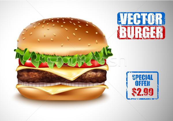 вектора реалистичный гамбургер классический Burger американский Сток-фото © Iaroslava
