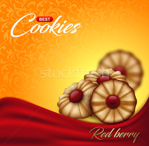 Buttery cookies with red berry jam on floral pattern backdrop. Label, packaging Stock photo © Iaroslava