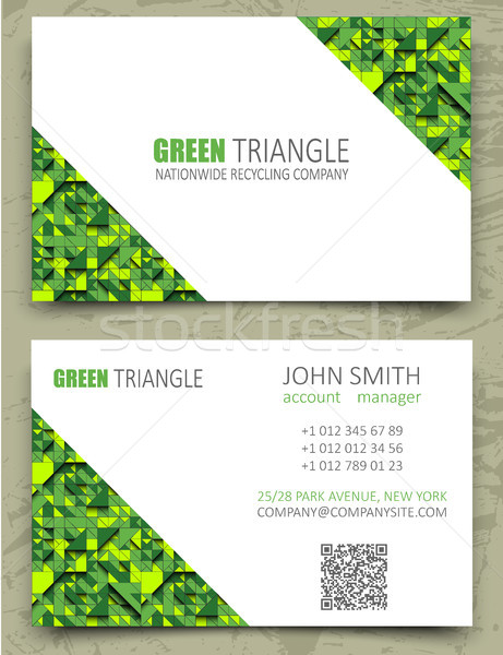 Green triangles modern business card design template. White diagonal space on pattern background Stock photo © Iaroslava