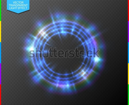 Abstract semitransparent blue light neon line glowing ring with colorful spotlight. Magic portal Stock photo © Iaroslava