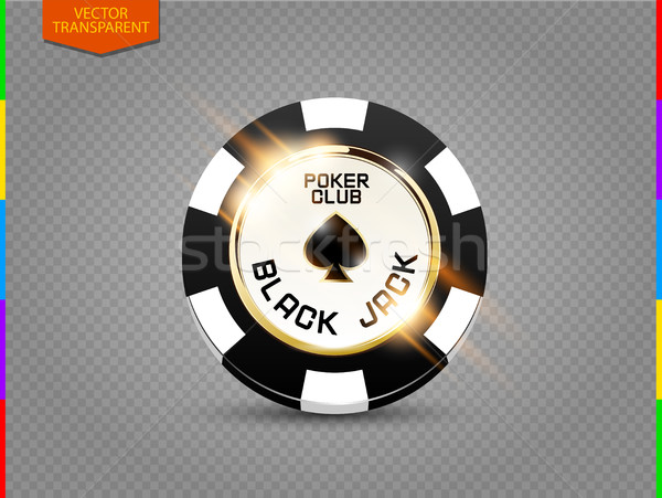 VIP poker chip with light effect vector. Black jack poker club casino spades emblem isolated Stock photo © Iaroslava