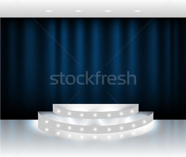 вектора синий занавес этап сцена белый Сток-фото © Iaroslava