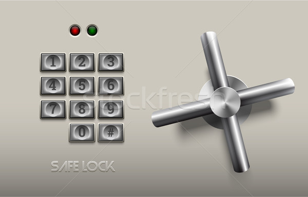 Realistic safe lock metal element on white background. Stainless steel wheel. Vector icon or design  Stock photo © Iaroslava