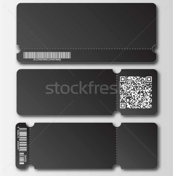 Black ticket template with tear-off element, barcode and QR code isolated on transparent background. Stock photo © Iaroslava
