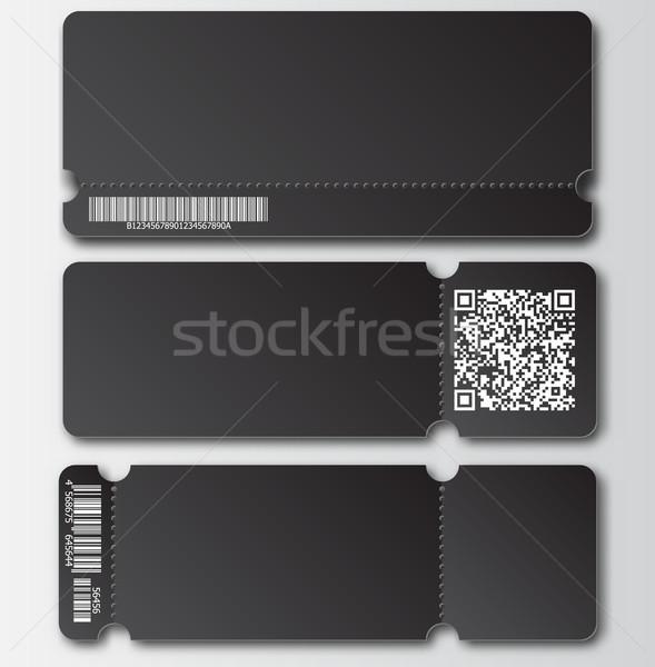 Zwarte ticket sjabloon element barcode qr code Stockfoto © Iaroslava