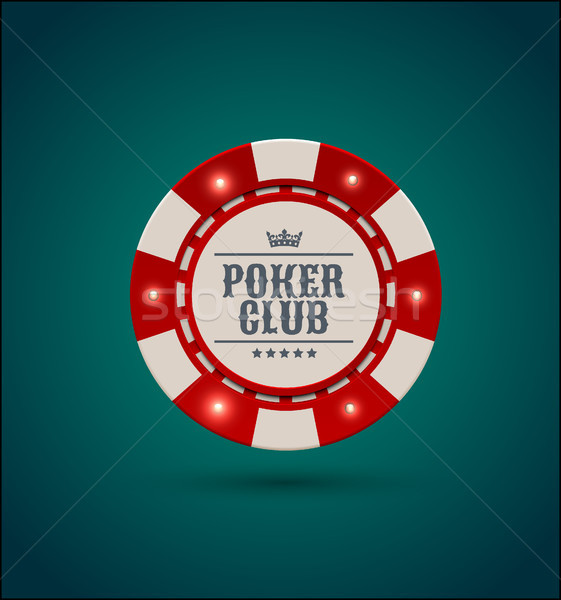Vector red white casino poker chip with luminous light elements. Blue green background. Poker club Stock photo © Iaroslava