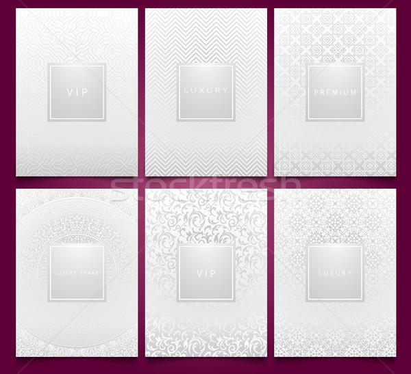 Vector set alb ambalaje sabloane argint Imagine de stoc © Iaroslava