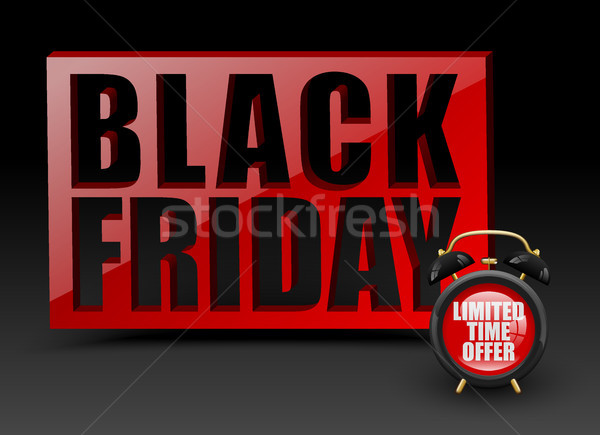 Black friday red wall on black background. Vector alarm clock with limited time offer text. Banner Stock photo © Iaroslava