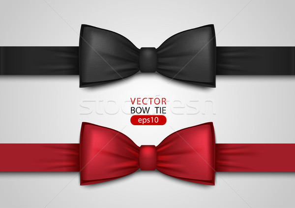 Black and red bow tie, realistic vector illustration, isolated on white background Stock photo © Iaroslava