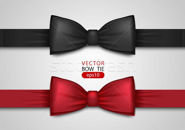 Fekete piros csokornyakkendő valósághű izolált fehér Stock fotó © Iaroslava