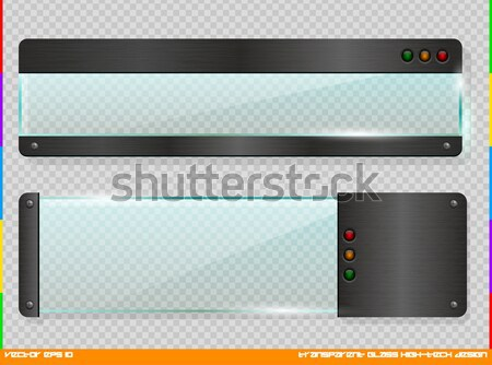 Set of semitransparent web dividers and shadow isolated on transparent background. Vector Stock photo © Iaroslava