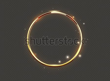 Abstract luxury golden glow ring on transparent background. Vector light circles spotlight and spark Stock photo © Iaroslava