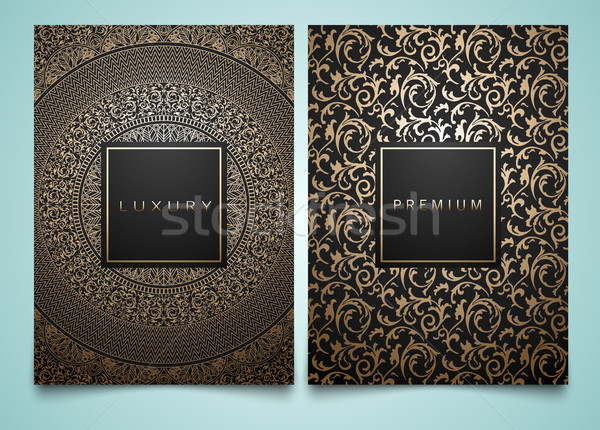 Vector set packaging templates with different golden floral damask texture for luxury product Stock photo © Iaroslava