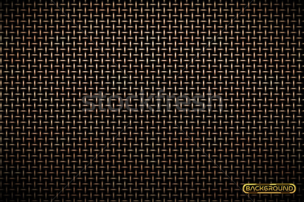 Vector pattern of brass metal grid techno background. Iron grill industrial texture. Web page fill Stock photo © Iaroslava