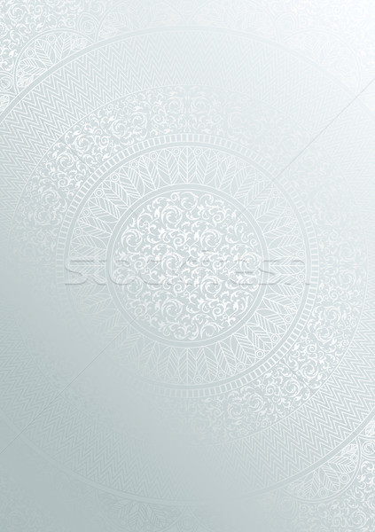 Silver round floral pattern gradient color. Vintage cover design template. Vector mandala poster Stock photo © Iaroslava