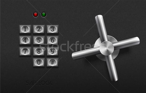 Realistic safe lock metal element on textured black plastic background. Stainless steel wheel Stock photo © Iaroslava