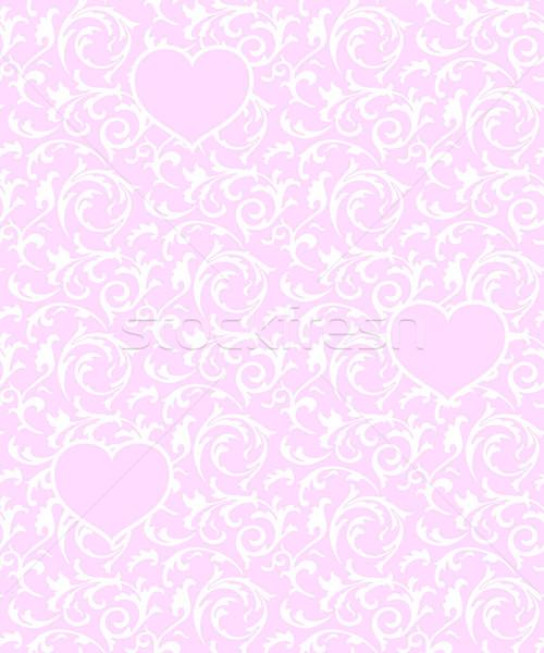 Rosa corações branco floral elemento Foto stock © Iaroslava