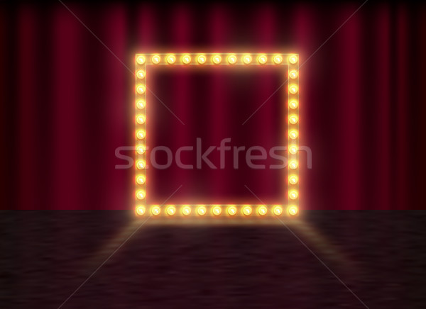 Square frame with glowing shiny light bulbs, vector illustration. Shining party banner on red Stock photo © Iaroslava