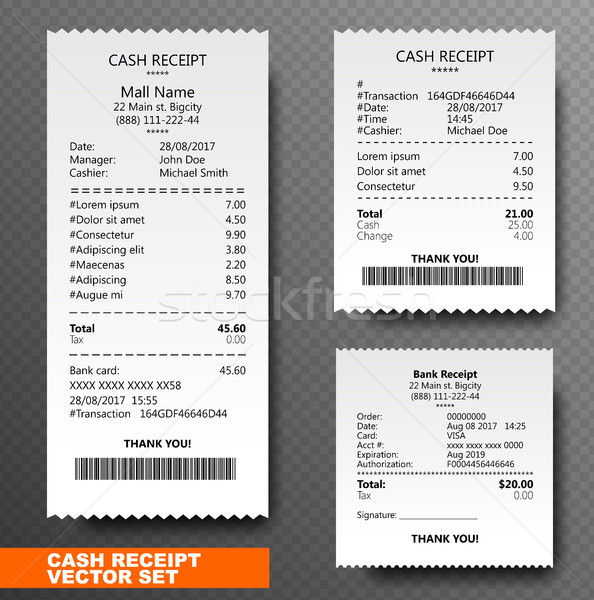 Set Paper check, reciept and financial-check isolated on transparent background. Printed receipt Stock photo © Iaroslava