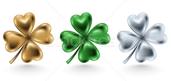Stock photo: Golden, green and silver clover leaf isolated on white background, vector illustration St. Patrick