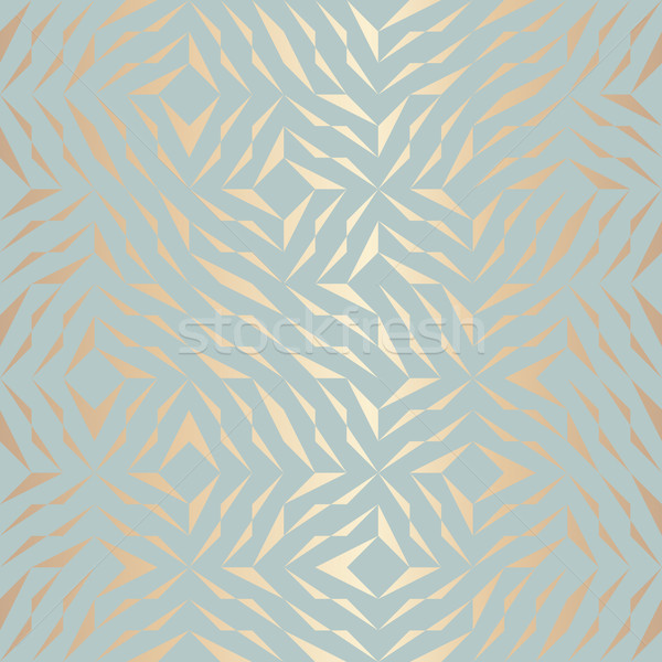 Seamless vector geometric golden element pattern. Abstract background copper texture on blue green.  Stock photo © Iaroslava