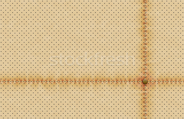 Vector light perforated leather texture wallpaper. Realistic perforated background with sewing line  Stock photo © Iaroslava