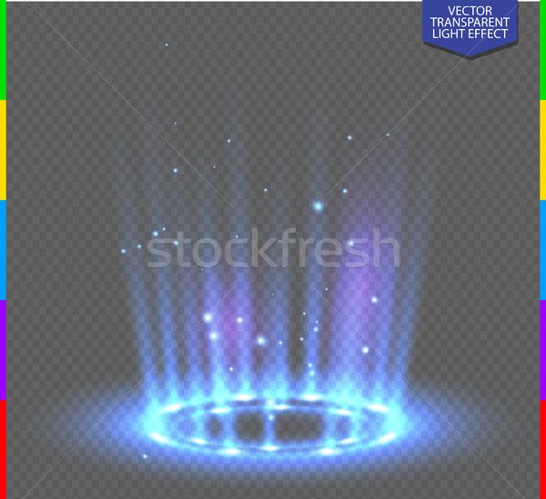 Round blue glow rays night scene with sparks on transparent background. Empty light effect podium Stock photo © Iaroslava