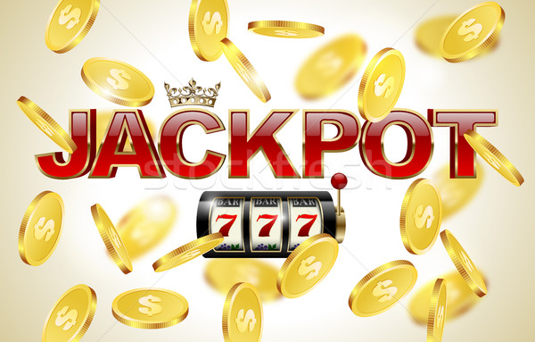 Red glossy jackpot text with crown, slot machine and lucky seven and falling golden coins background Stock photo © Iaroslava