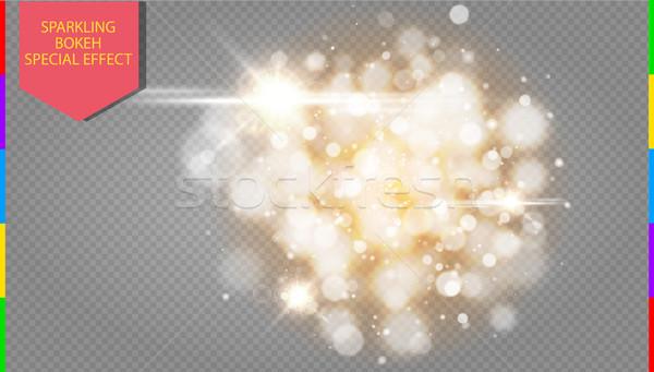 Golden bokeh light effect explosion with sparks modern design. Glow star burst or firework. Sparkles Stock photo © Iaroslava