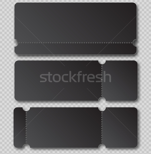 Black ticket template with tear-off element isolated on transparent background. Music, Dance Stock photo © Iaroslava