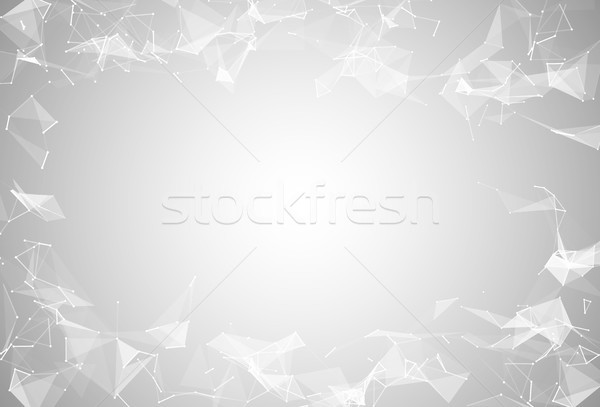 Abstract white polygonal connected triangles, lines, dots background. Modern technologies vector Stock photo © Iaroslava
