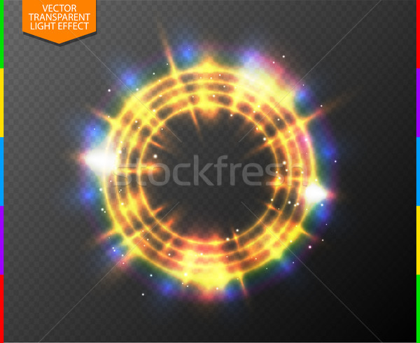Abstract semitransparent golden light neon line glowing ring with colorful spotlight and spark Stock photo © Iaroslava