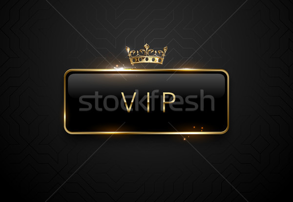 Vip black label with golden frame sparks and crown on black background. Dark premium template Stock photo © Iaroslava