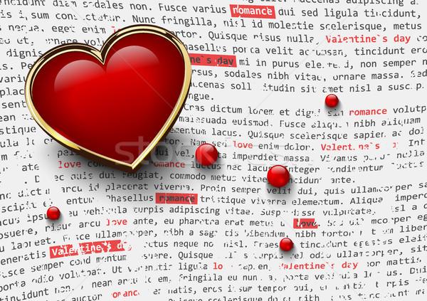 Valentijnsdag witte glanzend Rood hart gouden Stockfoto © Iaroslava