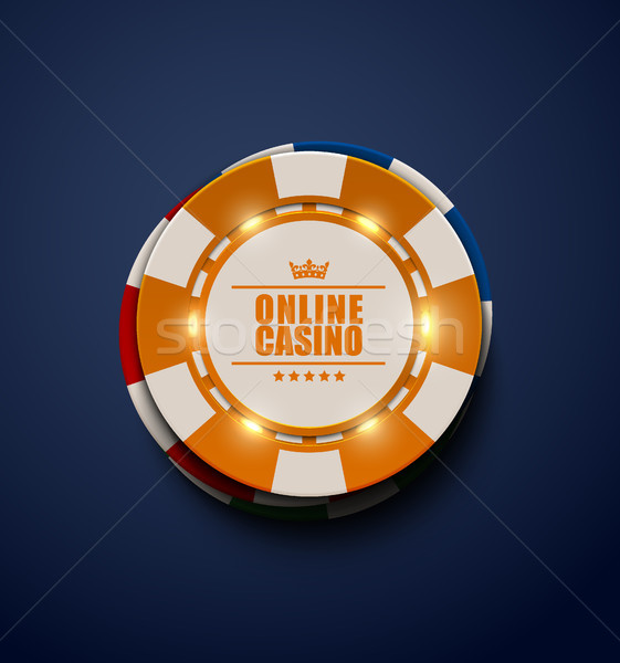 Vector yellow casino poker chips with luminous light elements, top view. Dark blue background Stock photo © Iaroslava